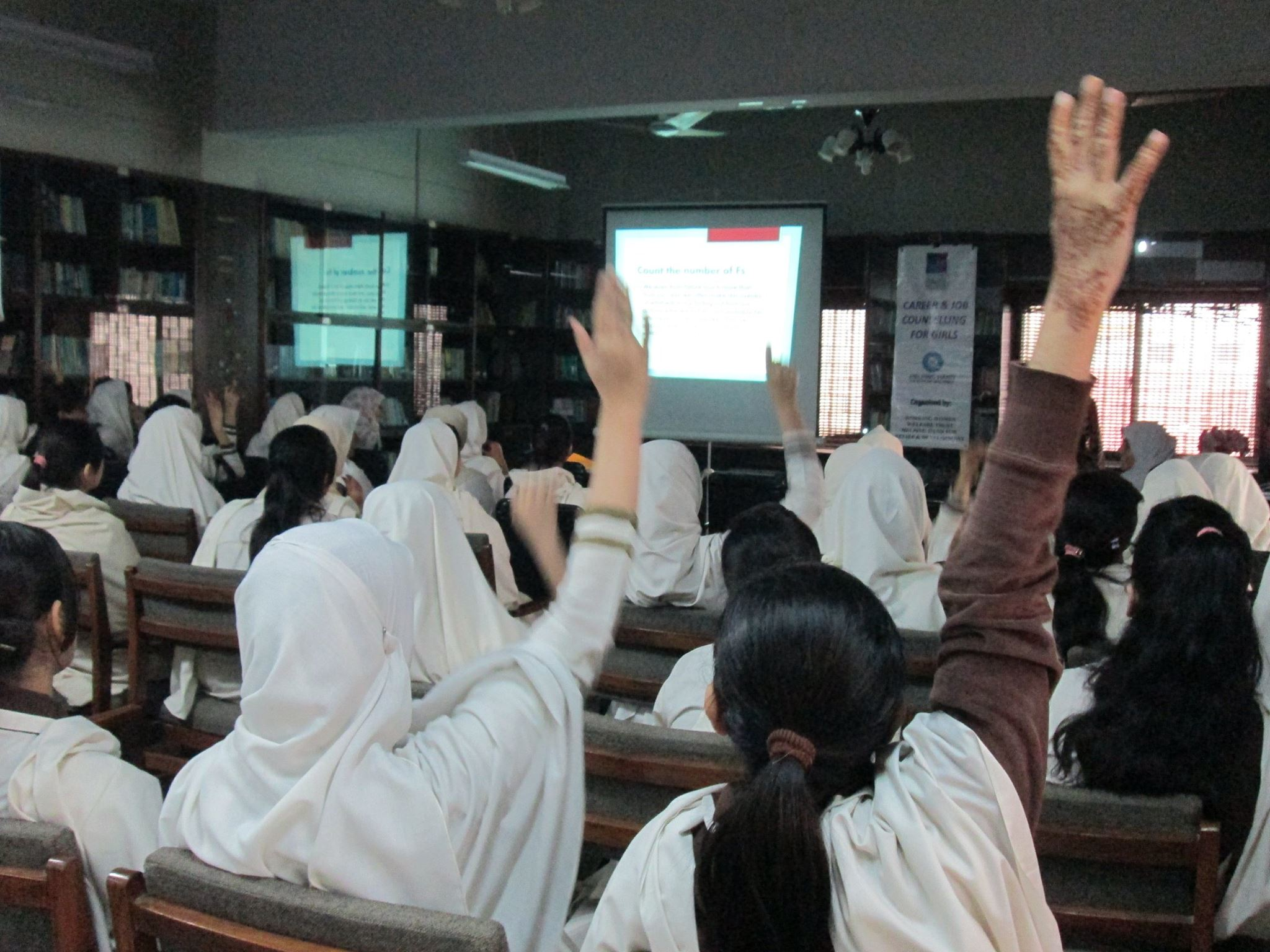 Effective Communication & Career counseling workshop in K.M.A. Girls Degree College Library.