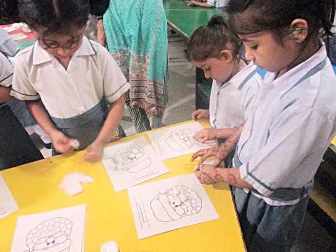 Pr-Primnary classes activity at KMA Girls & Boys Primary School, Nayabad Campus.