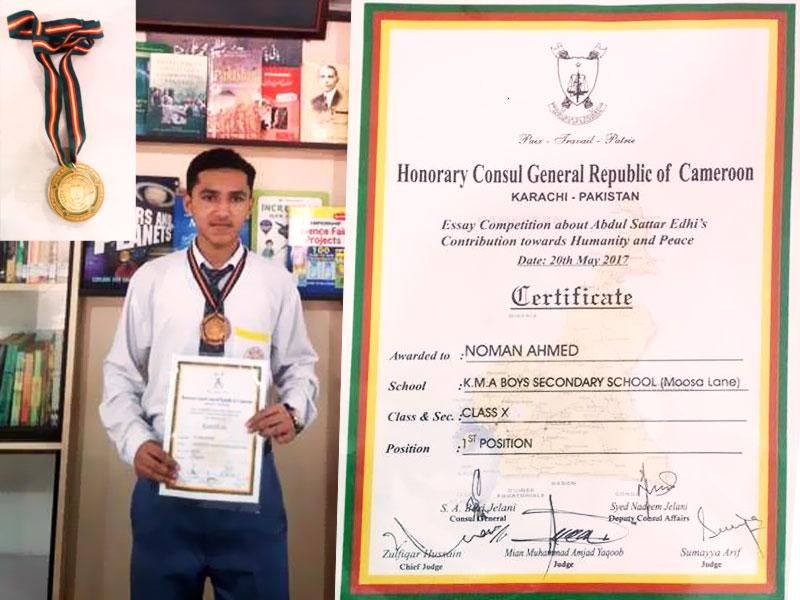 Noman Ahmed; Grade 10 D;  1st Position; Essay Competition