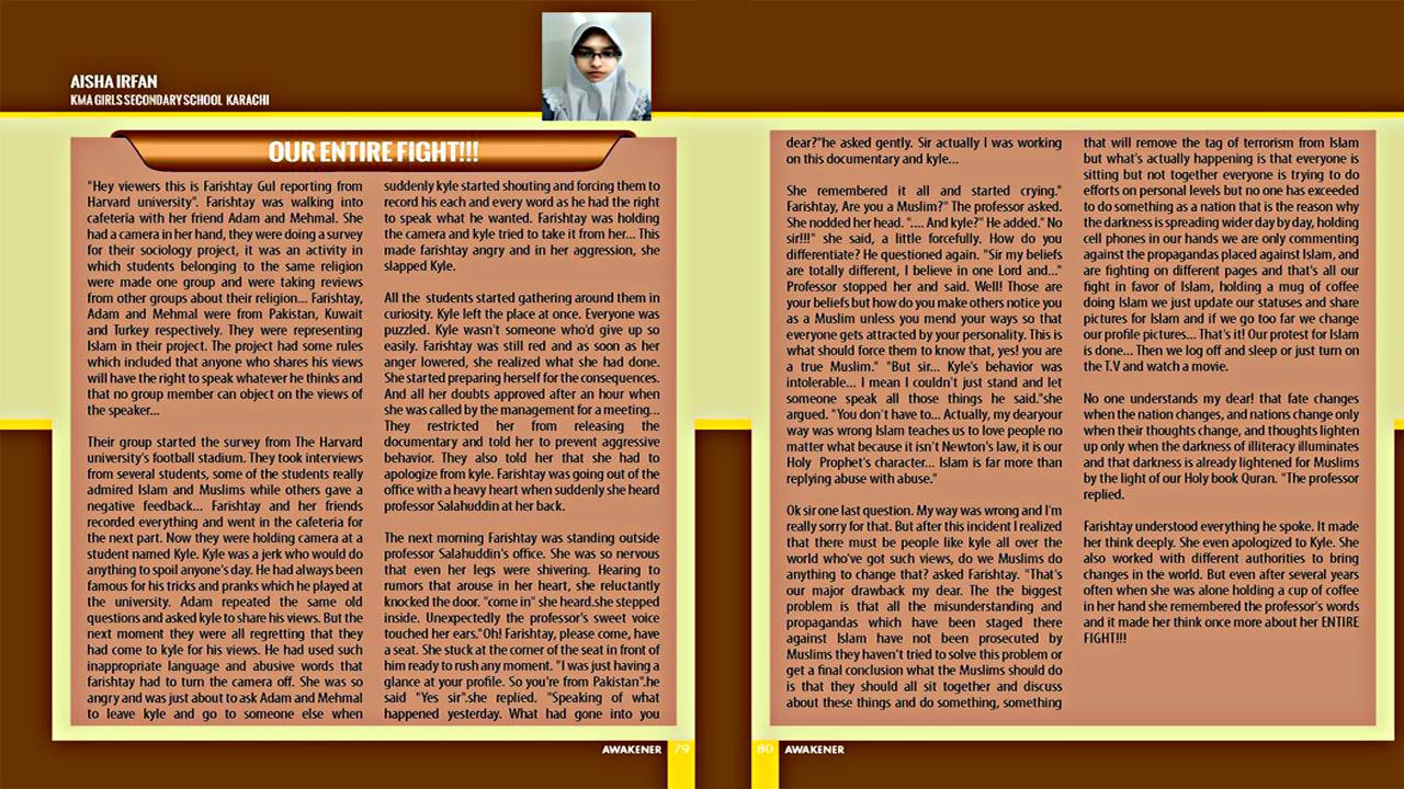 Student Article in Awakener Magazine ; KMA Girls Secondary School